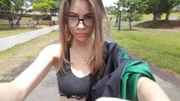 Brunette Teen Flashing and Masturbating in a Park