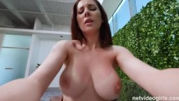 Busty brunette in an interracial casting scene gets creamed
