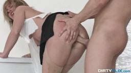 Sexy blonde office slut takes hardcore ass pounding fuck